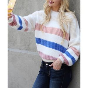 Soft Multi-Color Crew Neck Knitted Sweater